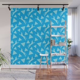 Gorgeous wild jumping cheetahs and abstract geometrical triangle shapes. Stylish classy elegant pastel blue retro vintage animal whimsical nature pattern. Silhouettes. Wall Mural