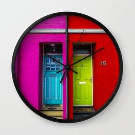 Colored doors Wall Clock