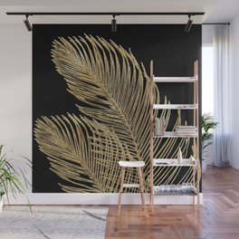 Palm Leaves Finesse Line Art with Gold Foil #1 #minimal #decor #art #society6 Wall Mural