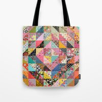 quilt Tote Bags featuring Grandma's Quilt by Rachel Caldwell