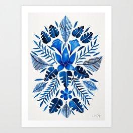 Tropical Symmetry – Navy Art Print