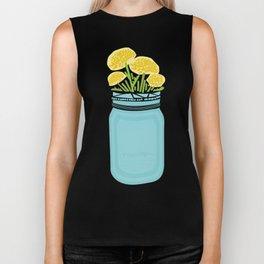 Geometric Mason Jar with Flowers Biker Tank