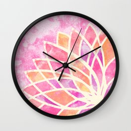 Stained Glass Lotus Wall Clock