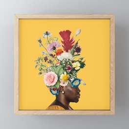 Flower Power- Bright Yellow Framed Mini Art Print