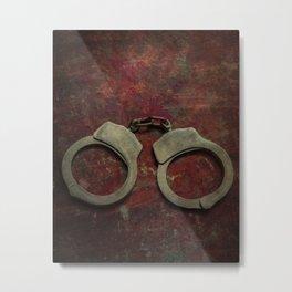Rusty handcuffs Metal Print
