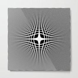 White On Black Convex Metal Print