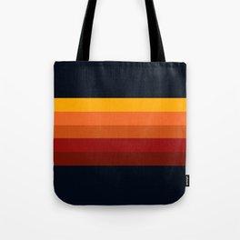 Navy & Orange Rainbow Stripes Tote Bag