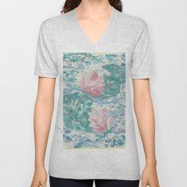 Ninfee. Waterlilies. Nynphéas Unisex V-Neck