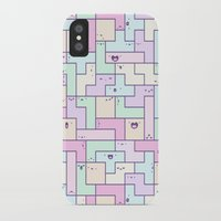 tetris iPhone & iPod Cases featuring Kawaii Tetris by KiraKiraDoodles