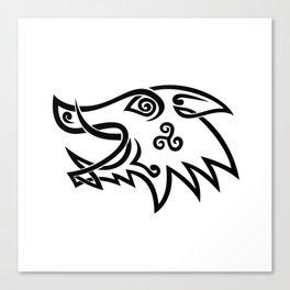 Boar Head Celtic Knot Black and White Stencil Canvas Print
