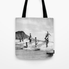 Vintage Hawaii Tandem Surfing Tote Bag