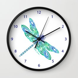 Tribal Dragonfly Blues and Greens Wall Clock