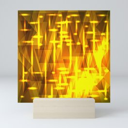 Luxurious golden triangles and metal stripes create abstraction and glow. Mini Art Print