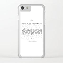 Life quote F. Scott Fitzgerald Clear iPhone Case