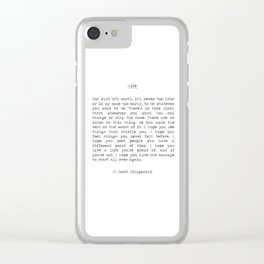 Life quote F. Scott Fitzgerald Clear iPhone Case
