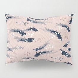 Orca in Motion / blush ocean pattern Pillow Sham