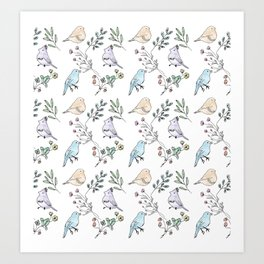 Watercolour birds Art Print