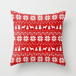 Smooth Fox Terrier Silhouettes Christmas Sweater Pattern Throw Pillow