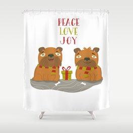 Brussels Griffon Peace , Love, Joy Shower Curtain