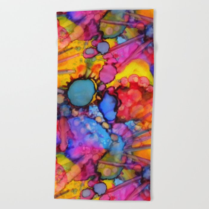 Rainbow Splats Alcohol Inks Beach Towel