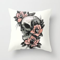 Skull and roses - tattoo Throw Pillow