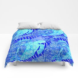 blue sea turtles Comforters