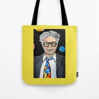 snl Tote Bags featuring Will Ferrell as Harry Caray SNL by Portraits on the Periphery