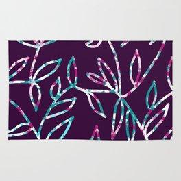 Watercolor Leaves Outline Purple Rug