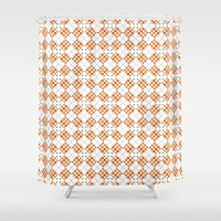 orange pattern Shower Curtains featuring Pattern Orange by Ochre Creative
