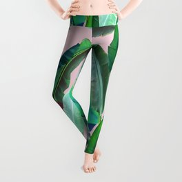 Banana Leaves on Pink Leggings