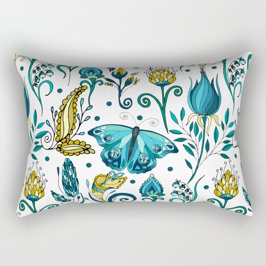Floral pattern with butterfly Rectangular Pillow