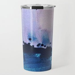 PYT: a minimal abstract mixed media piece on canvas in blues, pink, purple, and white Travel Mug