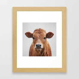 Cow 2 - Colorful Framed Art Print