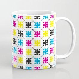 CMYK Colour Flower Pattern Coffee Mug