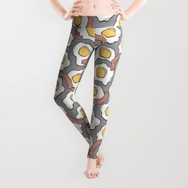 Eggs and Bacon on Grey Leggings
