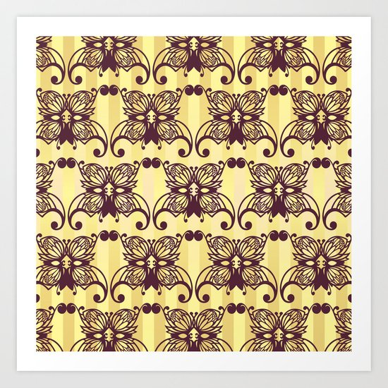 butterfly mask wallpaper pattern Art Print