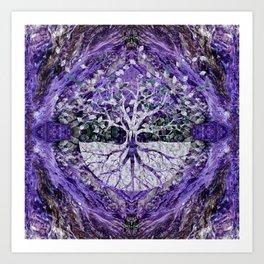 Silver Tree of Life Yggdrasil on Amethyst Geode Art Print