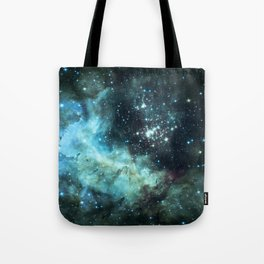 Teal Green Galaxy : Celestial Fireworks Tote Bag