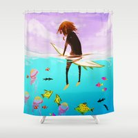 surfer Shower Curtains featuring Lone Surfer by Rachel Star Art