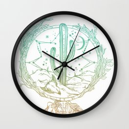 Desert Cactus Dreamcatcher Turquoise Coral Gradient on White Wall Clock