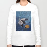 diver Long Sleeve T-shirts featuring Panda Diver by Michael Creese