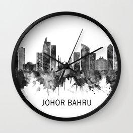 Johor Bahru Malaysia Skyline BW Wall Clock