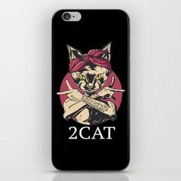 90's Hip Hop Cat with Bandana and Tattoos Loyal T-Shirt iPhone Skin