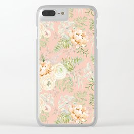 Blush pink peony bouquets pattern Clear iPhone Case