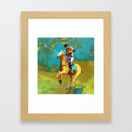 poloplayer abstract turquoise ochre Framed Art Print