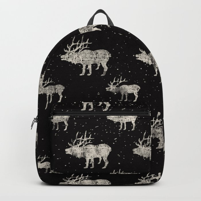 Moose in Winter Snow on Black - Wild Animals - Mix & Match with Simplicity of Life Backpack