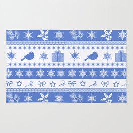 Christmas blue and white pattern with decorative bands. Rug