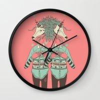 boob Wall Clocks featuring unicorn boob by Yna Crez