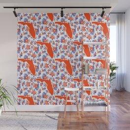 Florida University silhouette orange and blue pattern sports football college gators gator fan Wall Mural