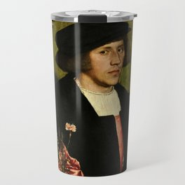Hans Holbein  - Portrait of Georg Giese Travel Mug